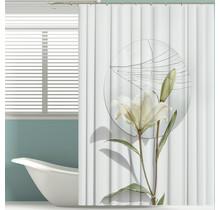 Bedruckter Duschvorhang aus Polyester 180 x 200 cm - Wasserdicht - Mit Ringen | Lily