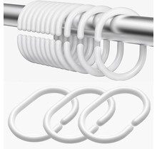 Shower Curtain Rings Set with 12 Rings - Plastic - White