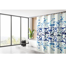 Shower Curtain 180 x 200 Polyester Washable  Bathroom  Curtains with Rings   Blue Flower with Yellow Background