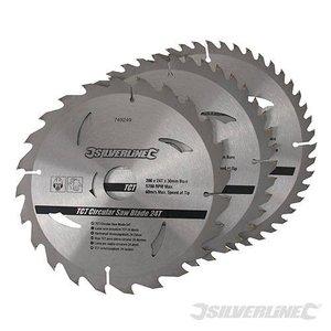 Silverline Zaagblad 205 x 30/25/18/16 mm 24+40+48 Tands SET