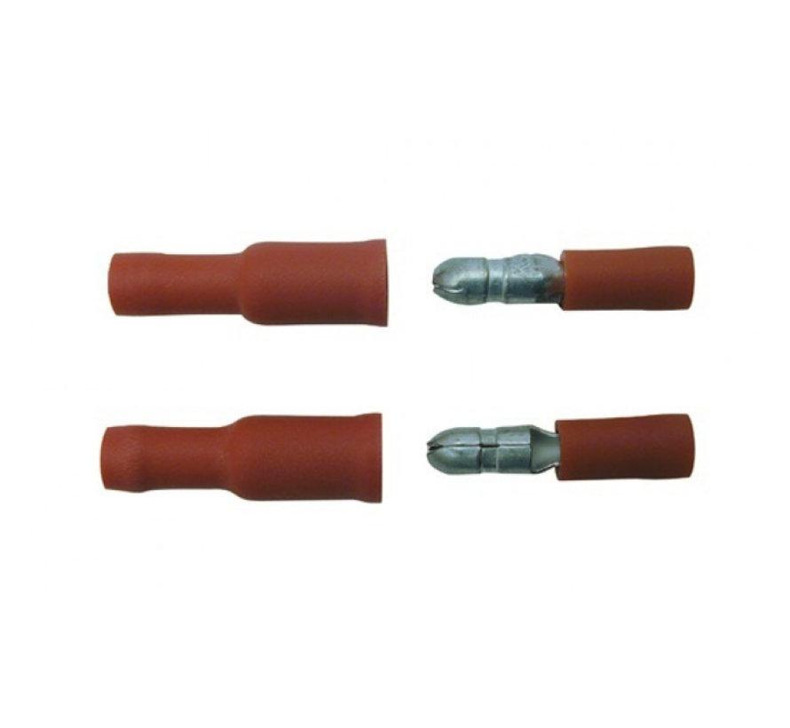 Skandia kabelschoen rondsteker 4 mm assortiment rood 10 stuks