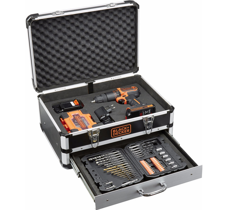 BLACK+DECKER Accu boor/schroefmachine BDC718AS2F met 80 accessoires in koffer