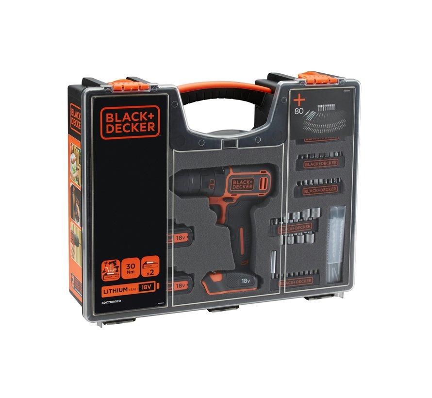 BLACK+DECKER Accu boor/schroefmachine BDC718AS20 met 80 accessoires in organiser