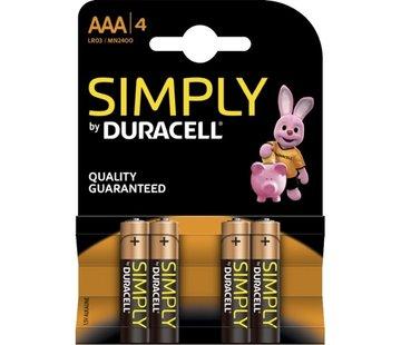 Duracell Batterij AAA super alkaline LR03, 4 per pak