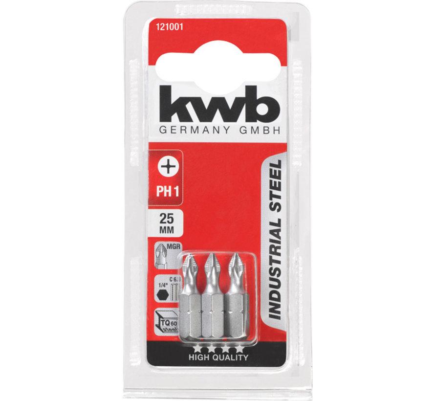 KWB Bit Phillips 1 - 25 mm INDUSTRIAL STEEL - 3 stuks