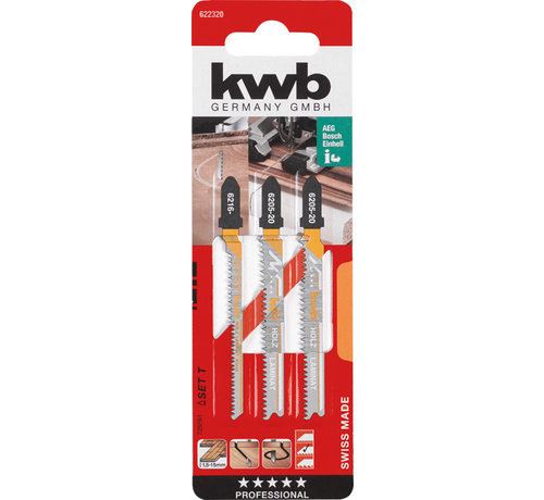 KWB KWB Decoupeerzaagbladen BIM & HCS  T-schacht 2 x Fijn, 1 x Curve