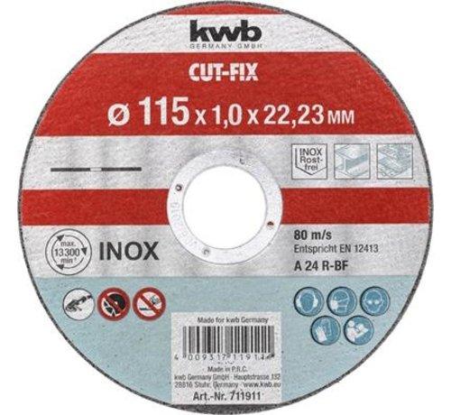 KWB KWB Doorslijpschijf 115 x 1,0 x 22,23 mm CUT-FIX® INOX