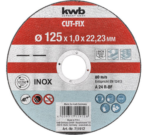 KWB KWB Doorslijpschijf 125 x 1,0 x 22,23 mm CUT-FIX® INOX