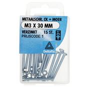 Deltafix Metaalschroef CK + Moer M3x30mm 15 Stuks