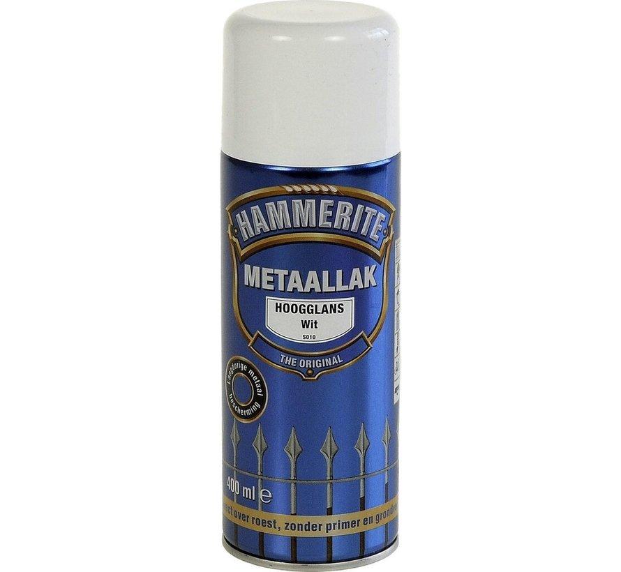 Hammerite Metaallak  Spuitbus Hoogglans Wit - 400 ml