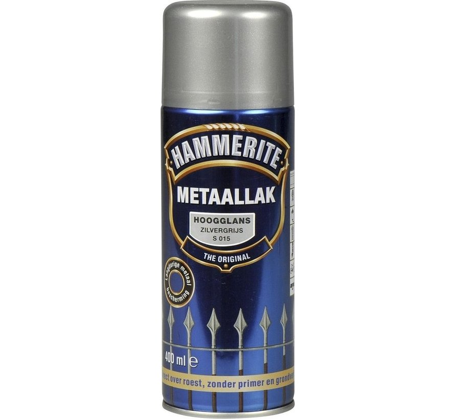 Hammerite Metaallak  Spuitbus Hoogglans Zilver Grijs - 400 ml