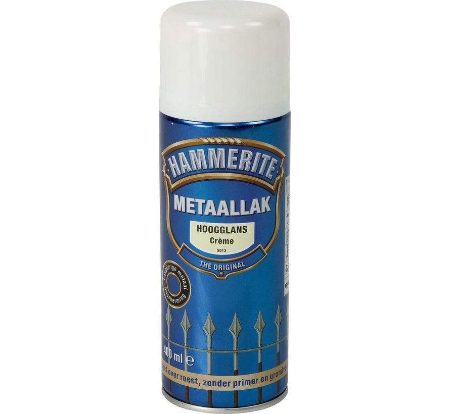 Hammerite Metaallak  Spuitbus Hoogglans Crème - 400 ml