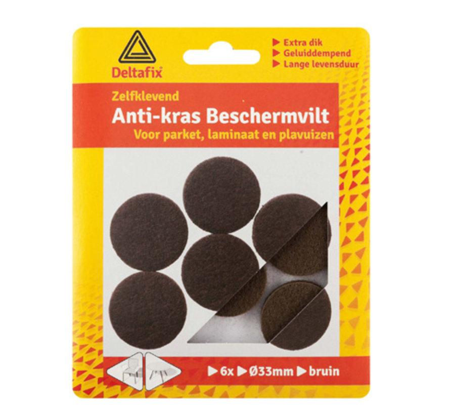 Anti-krasvilt Rond 33mm Bruin 6 stuks