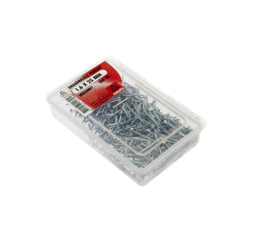 Draadnagels Platkop 1.6x25mm Verzinkt 200 Gr.