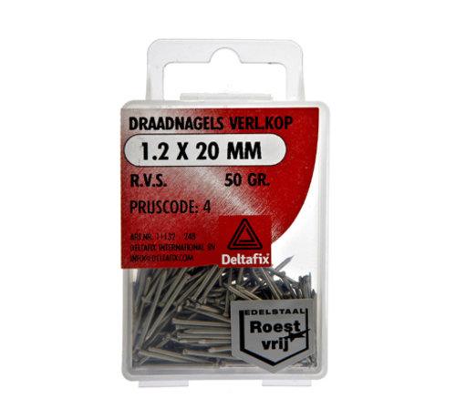 Deltafix Draadnagels Verlopen Kop 1.2x20 mm RVS 50 Gr.