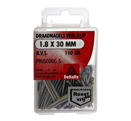 Deltafix Draadnagels Verlopen Kop 1.8x30 mm RVS 110 Gr.