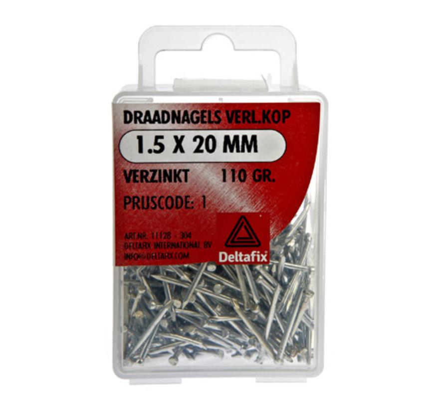 Draadnagels Verlopen Kop 1.5x20 mm Verzinkt 110 Gr.