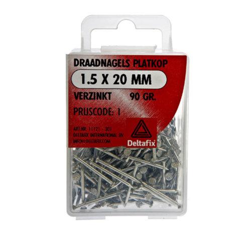 Deltafix Draadnagels Platkop 1.5x20mm Verzinkt 90 Gr.