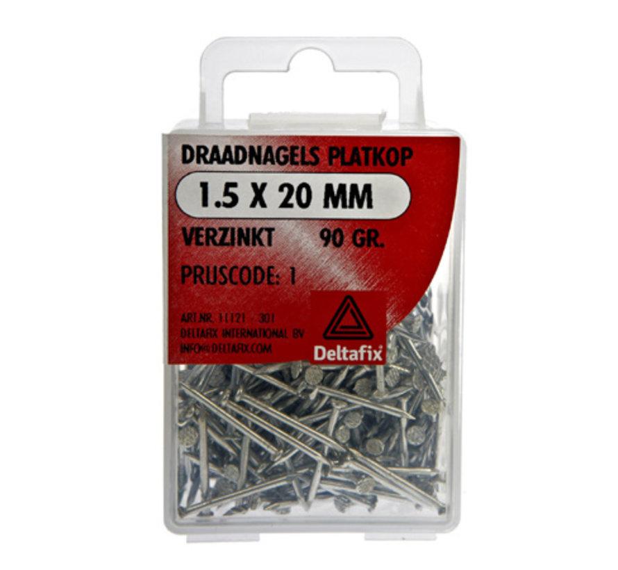 Draadnagels Platkop 1.5x20mm Verzinkt 90 Gr.
