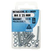 Deltafix Metaalschroef verzinkt CK + Moer M4 x 25 mm - 12 stuks