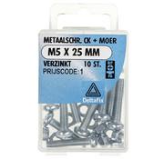 Deltafix Metaalschroef verzinkt CK + Moer M5 x 25 mm - 10 stuks