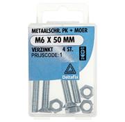 Deltafix Metaalschroef verzinkt PK + Moer M6 x 50 mm - 4 stuks