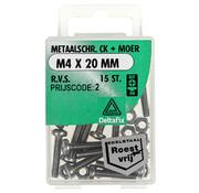 Deltafix Metaalschroef R.V.S. CK + Moer M4 x 20 mm - 15 stuks