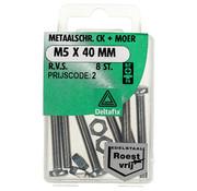 Deltafix Metaalschroef R.V.S. CK + Moer M5 x 40 mm - 8 stuks