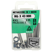 Deltafix Metaalschroef R.V.S. CK + Moer M6 x 40 mm - 5 stuks