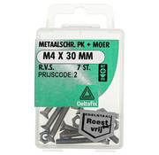 Deltafix Metaalschroef R.V.S. PK + Moer M6 x 40 mm - 4 stuks