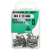 Deltafix Metaalschroef R.V.S. PK + Moer M4 x 20 mm - 10 stuks