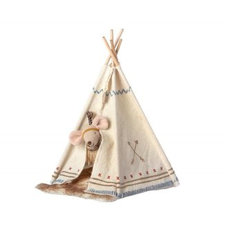 Maileg Maileg Little Feather Mouse, with Teepee Tent