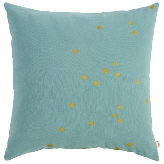 La Cerise Sur Le Gateau La Cerise Sur Le Gateau Cushion Cover - iode, Gold Dots