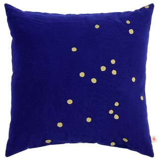 La Cerise Sur Le Gateau La Cerise Sur Le Gateau Cushion Cover - So Blue, Gold Dots