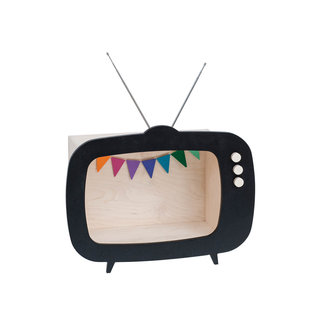 "Up Warsaw Up Warsaw Wooden Design Wall Cabinet ""TV"" Black"
