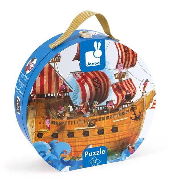 Janod Janod Puzzelkoffer - Piratenschip  39 stukjes