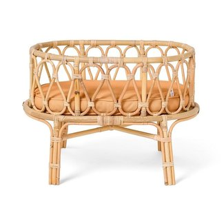 Poppie Toys Poppie Toys Rattan doll cradle with caramel mattress