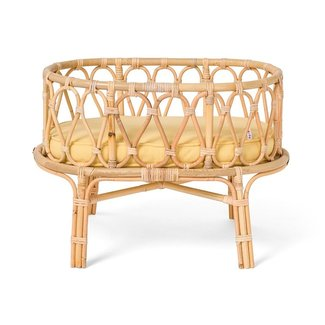 Poppie Toys Poppie Toys Rattan doll cradle with yellow mattress