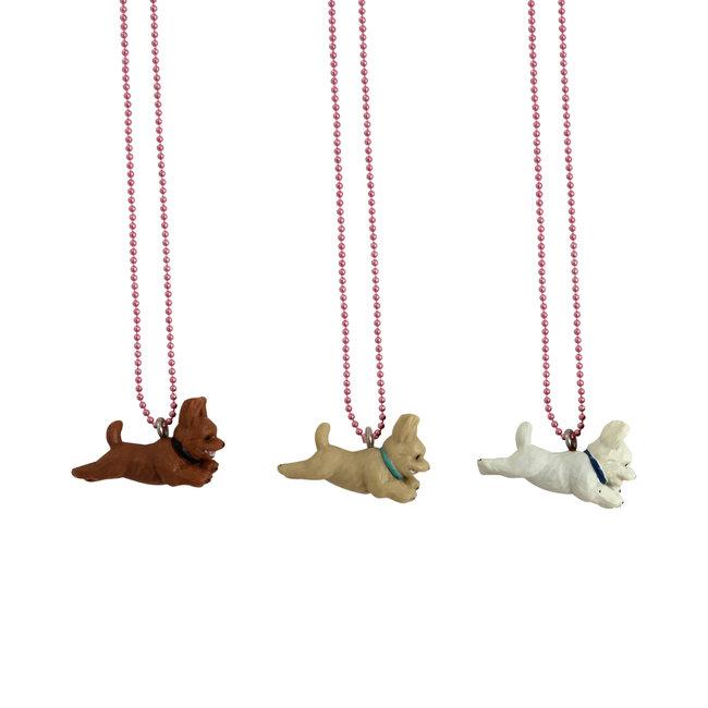 Pop Cutie Pop Cutie necklace dog brown with blue collar