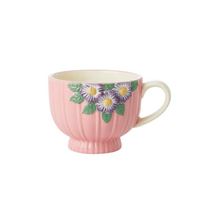 Rice Rice ceramic Mug Pink with flowers