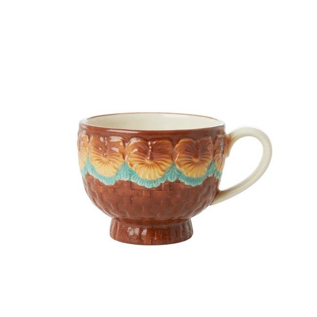 Rice Rice ceramic Mug brown with flowers