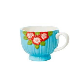 Rice Rice ceramic Mug blue with flowers