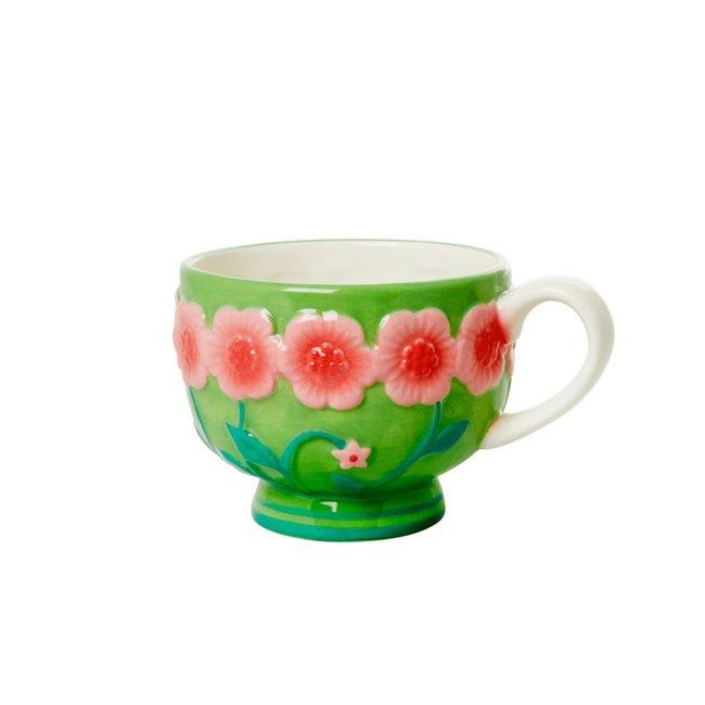 Rice Rice ceramic Mug green with flowers