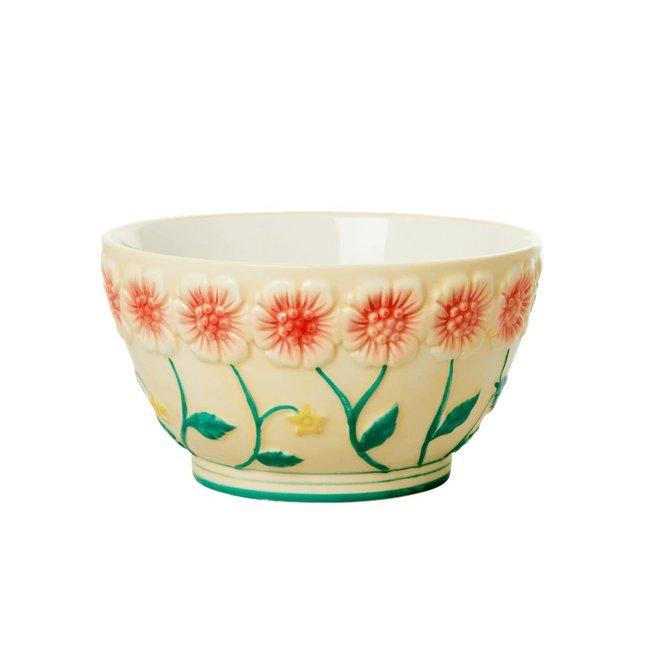Rice Rice ceramic bowl Embossed flowwer design cream