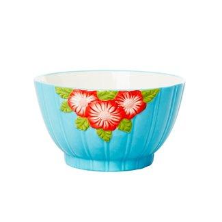 Rice Rice ceramic bowl Embossed flower design blue