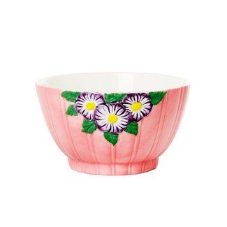 Rice Rice keramieken kom roze met bloemen