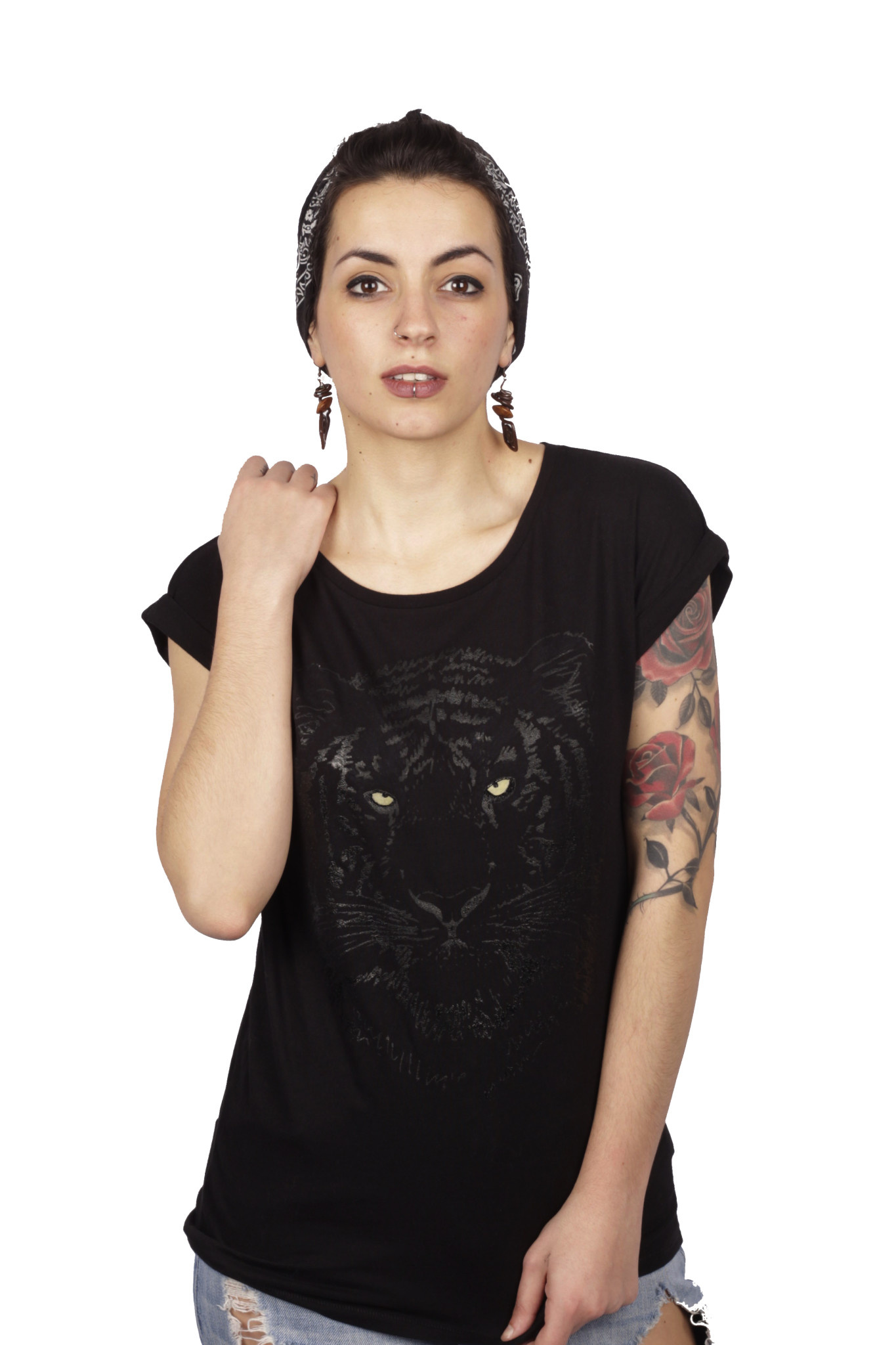 Black Tiger Roll-up T-shirt