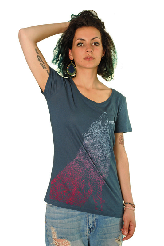 Huilende Wolf T-shirt - Bamboo