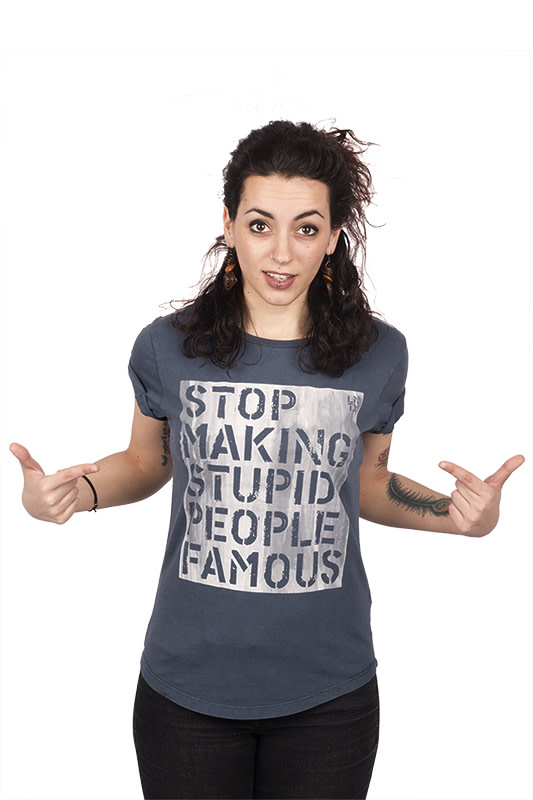 Stop Making Stupid People Famous T-shirt - Roll-up