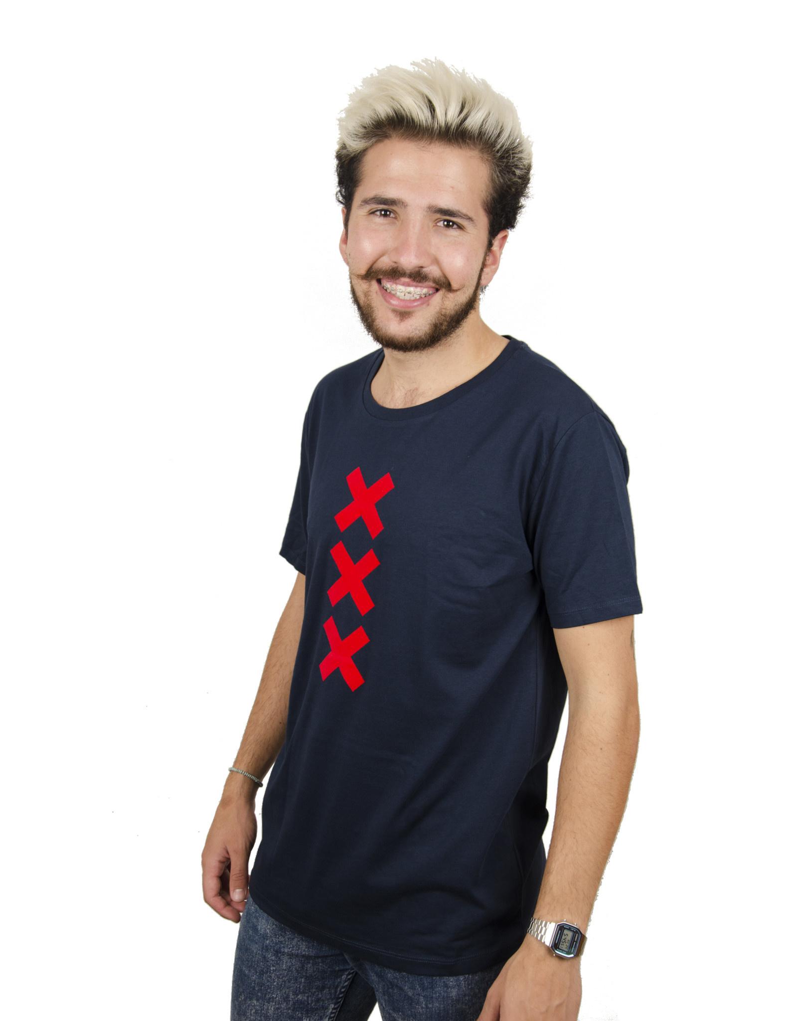XXX T-shirt - Navy/Red Suede